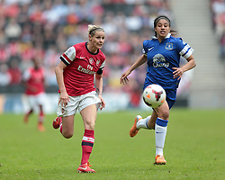 Arsenal Ladies player Kelly Smith (10) and Everton Ladies defender Gabrielle George (23) vie for the ball  - Photo mandatory by-line: Nigel Pitts-Drake/JMP - Tel: Mobile: 07966 386802 01/06/2014 - SPORT - FOOTBALL - LADIES - Stadium mk - Milton Keynes - Arsenal Ladies v Everton Ladies - The FA Women's Cup Final