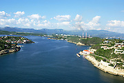 The Bay of Santiago de Cuba, Cuba as seen from the Castillo de San Pedro del Morro fortress