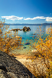 """""""Whale Beach in Autumn 1"""" - Photograph of Whale Beach, Lake Tahoe shot in the fall, Whale Rock can be seen in the distance."""