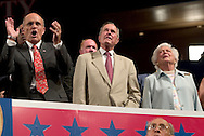 Ex-mayor of NYC Rudy Guliani and ex-US President George H. Bush at the RNC..RNC, Madison Square Garden, NYC, NY USA.9/1/04.