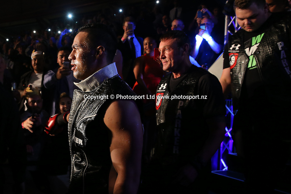 New Zealand Heavyweight boxer Joseph Parker enters the ring v French Cameroon boxer Carlos Takam. IBF eliminator. Burger King Road to the Title by Duco Boxing. Saturday 21 May 2016. Auckland, New Zealand. © Copyright Photo: Fiona Goodall / www.photosport.nz