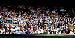 General view of the royal box on centre court including The Duchess of Cambridge and the Duchess of Sussex (front row centre) on day twelve of the Wimbledon Championships at the All England Lawn Tennis and Croquet Club, Wimbledon.
