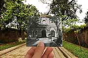When past and present collide: Snapshots of old Vietnam superimposed on modern-day scenes show how much country has changed<br /> <br /> If a picture paints a thousand words, these clever hybrid images tell the story of an entire culture.<br /> By carefully positioning a photograph from the past over the same modern-day scene, Vietnamese photographer Khánh Hmoong cleverly brings history to life in the very spot where it once occurred years earlier.<br /> The effect allows the viewer to distinctly see the changes that have taken place between the two periods in time in his native country.<br /> <br /> The pictures stretch back to the 1920s, although many were taken during the Vietnam War era between 1955 and 1975.<br /> Some point to subtle changes in the environment and architecture or the evolving modes of transport, such as the shift from horses to motor cars.<br /> Others are far more dramatic. One shows a tank bursting through gates that now surround a perfectly manicured beauty spot.<br /> <br /> Another features flag-bearing soldiers striding triumphantly into what appears to be a Vietnamese temple that is now much more of a tourist attraction than a war zone.<br /> All, however, offer a fascinating insight into the complicated and often brutal history of Vietnam that words cannot always achieve.<br /> ©Khánh Hmoong /exclusivepix