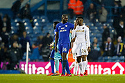 Cardiff City defender Souleymane Bamba (14) and Leeds United forward Hadi Sacko (24) chat at full time during the EFL Sky Bet Championship match between Leeds United and Cardiff City at Elland Road, Leeds, England on 3 February 2018. Picture by Paul Thompson.
