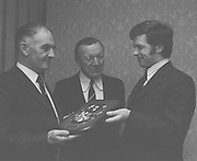 Officials present the G.A.A. Personality of the Month Award on the 4th of February 1974.