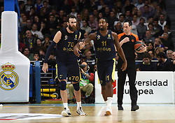 March 2, 2018 - Madrid, Madrid, Spain - Brad Wanamaker (right) and , #11 of Fenerbahce and Luigi Datome, #70 of Fenerbahce,  pictured  during the 2017/2018 Turkish Airlines EuroLeague Regular Season Round 24 game between Real Madrid and Fenerbahce Dogus Istanbul at WiZink center in Madrid. (Credit Image: © Jorge Sanz/Pacific Press via ZUMA Wire)
