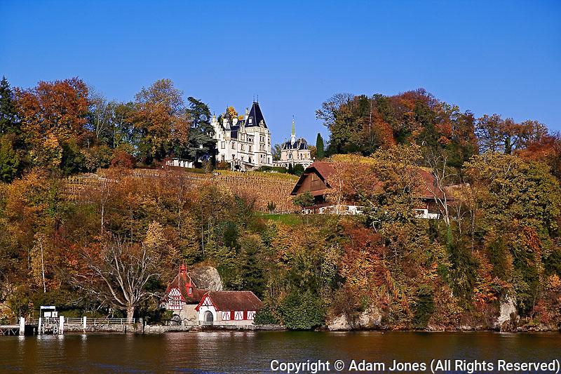 View of estate of the owner of Heineken Beer, from sightseeing boat, Lake Lucerne, Lucerne, Switzerland