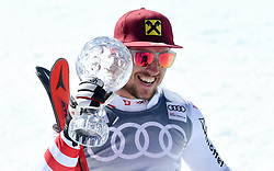 19.03.2017, Aspen, USA, FIS Weltcup Ski Alpin, Finale 2017, Slalom, Herren, Siegerpräsentation, im Bild Marcel Hirscher (AUT, Slalom Riesenslalom und Gesamt Weltcup Sieger) mitder Kristrallkugel für den Slalom Weltcupsieg // Winner of Slalom Giant Slalom and Overall World Cup Marcel Hirscher of Austria with the crystal globe for the men's Slalom World Cup during the winner presentation for the men's Slalom of 2017 FIS ski alpine world cup finals. Aspen, United Staates on 2017/03/19. EXPA Pictures © 2017, PhotoCredit: EXPA/ Erich Spiess