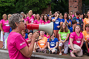 Ann Brown, assistant director of special initiatives for University Advancement addresses the over 300 women who gathered near College Green on Tuesday, June 23, 2015 for the first ever OU Women Portrait.  Photo by Ohio University  /  Rob Hardin