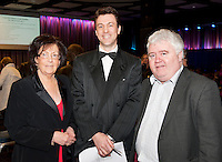 Phill Grealish, SCCUL,  Brian Duffy, joint MC and Ivan McPhilips GMIT, at the Radisson Blu Hotel for Galway 1st ever Choir Factor in aid of Kilcuan Retreat and Healing Centre in Clarinbridge, Co. Galway. The event organised by the Corrib Lions Club was won by the Marine Institute Choir directed by Carmel Dooley. Picture:Andrew Downes