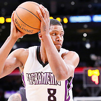 28 February 2014: Sacramento Kings small forward Rudy Gay (8) looks to pass the ball during the Los Angeles Lakers 126-122 victory over the Sacramento Kings at the Staples Center, Los Angeles, California, USA.