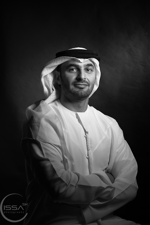 Abdulkareem Al Masabi, Abu Dhabi, VP- Khalifa Port Operations at Abu Dhabi Ports Company, Emirati, Executive, Black Back ground, business portrait, national dress,