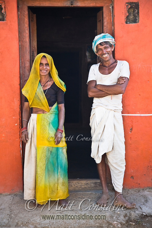 Fit and cheerful village people outside their house in the Rajasthani countryside.<br /> (Photo by Matt Considine - Images of Asia Collection)