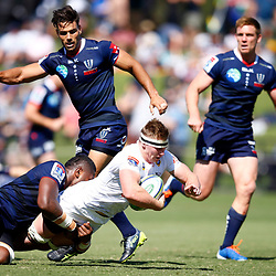 James Venter of the Cell C Sharks during the super rugby match between the Melbourne Rebels and the Cell C Sharks at the  Mars Stadium,Ballarat,Western suburbs of Melbourne,Victoria, Australia, 22,020,2020 (Photo Steve Haag /HollywoodBets)