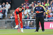 Lancashire Lightnings Richard Gleeson  during the Vitality T20 Blast North Group match between Lancashire Lightning and Leicestershire Foxes at the Emirates, Old Trafford, Manchester, United Kingdom on 30 August 2019.