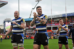 Matt Garvey, Matt Banahan and George Ford (Bath) are all smiles after the match - Photo mandatory by-line: Patrick Khachfe/JMP - Tel: Mobile: 07966 386802 12/04/2014 - SPORT - RUGBY UNION - Kingsholm Stadium, Gloucester - Gloucester Rugby v Bath Rugby - Aviva Premiership.