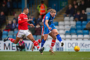 Gillingham FC forward Tom Eaves (9) has a shot during the EFL Sky Bet League 1 match between Gillingham and Barnsley at the MEMS Priestfield Stadium, Gillingham, England on 9 February 2019.