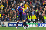GOAL - Barcelona midfielder Philippe Coutinho (7) celebrates with Barcelona defender Jordi Alba (18) 3-0 during the Champions League quarter-final leg 2 of 2 match between Barcelona and Manchester United at Camp Nou, Barcelona, Spain on 16 April 2019.