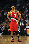 Dec. 10 2010; Phoenix, AZ, USA; Portland Trailblazers guard Brandon Roy (7) reacts on the court during the first half against the Phoenix Suns at the US Airways Center. Mandatory Credit: Jennifer Stewart-US PRESSWIRE.