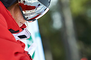 """Schladming, Austria - 2017 March 21: Elsa  Clement from  Monaco (222) looks back during Alpine Skiing Competition while Special Olympics World Winter Games Austria 2017 on the """"Sepp-Walcher-Downhill"""" (Slope 32) near the """"Tauernalm"""" in Rohrmoos on March 21, 2017 in Schladming, Austria.<br /> <br /> Mandatory credit:<br /> Photo by © Adam Nurkiewicz / Mediasport<br /> <br /> Adam Nurkiewicz declares that he has no rights to the image of people at the photographs of his authorship.<br /> <br /> Picture also available in RAW (NEF) or TIFF format on special request.<br /> <br /> Any editorial, commercial or promotional use requires written permission from the author of image.<br /> <br /> Image can be used in the press when the method of use and the signature does not hurt people on the picture."""