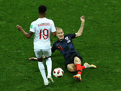 July 11, 2018 - Moscow, Russia - July 11, 2018, Moscow, FIFA World Cup 2018 Football, the playoff round. 1/2 finals of the World Cup. Football match Croatia - England at the stadium Luzhniki. Player of the national team Domaja Vida  (Credit Image: © Russian Look via ZUMA Wire)