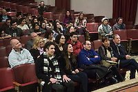 SLIEMA, MALTA - 8 FEBRUARY 2016: The Maltese audience listens to the answers from the actors of Shakespeare's Globe theatre company during a Q&A session, after performing the touring Hamlet at the Salesian Theatre in Sliema, Malta, on February 8th 2016.<br /> <br /> The touring Hamlet, performed by the Shakespeare's Globe theatre company, is part of the Globe to Globe tour that set off in April 2014 (on the 450th anniversary of Shakespeare's birth) with the ambitious intention of visiting every country in the world over 2 years. The crew is composed of a total of sixteen men and women: four stage managers and twelve twelve actors  actors perform over two dozen parts on a stripped-down wooden stage. So far Hamlet has been performed in over 150 countries, to more than 100,000 people and travelled over 150,000 miles. The tour was granted UNESCO patronage for its engagement with local communities and its promotion of cultural education. Hamlet was also played for many dsiplaced people around the world. It was performed in the Zaatari camp on the border between Syria and Jordan, for Central African Republic refugees in Cameroon, and for Yemeni people in Djibouti. On February 3rd it was performed to about 300 refugees in Calais at the camp known as the Jungle.