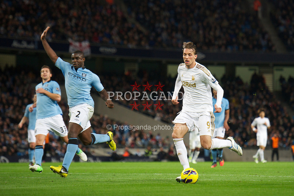 MANCHESTER, ENGLAND - Saturday, October 27, 2012: Swansea City's Miguel Perez Cuesta 'Michu' scores, but the goal is disallowed for offside, during the Premiership match against Manchester City at the City of Manchester Stadium. (Pic by David Rawcliffe/Propaganda)