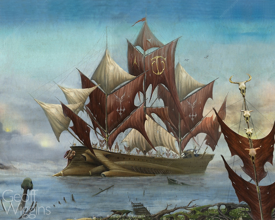 Ship of Fools Dragonship illustration of mythical ghost ship. Record sleeve. Oil on panel