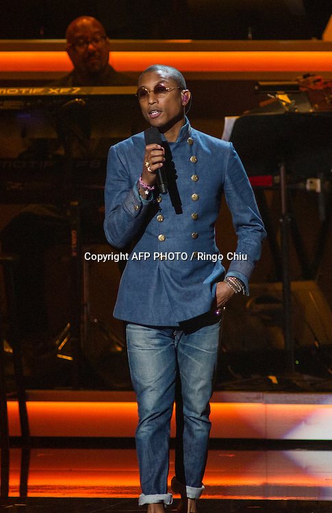 Pharrell Williams performs at a concert, Stevie Wonder: Songs In The Key Of Life - An All-Star GRAMMY Salute, at Nokia Theatre L.A. Live on February 10, 2015 in Los Angeles, California. AFP PHOTO / Ringo Chiu