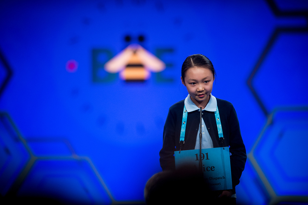 Alice Liu, 10, from Chesterfield, Mo., participates in the finals of the 2017 Scripps National Spelling Bee on Thursday, June 1, 2017 at the Gaylord National Resort and Convention Center at National Harbor in Oxon Hill, Md.      Photo by Pete Marovich/UPI