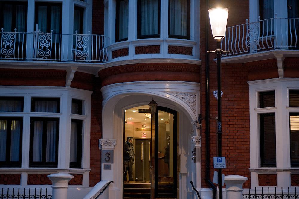 The Ecuadorian embassy in Knightsbridge, London, Britain.