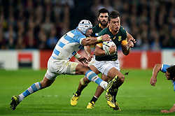 Jesse Kriel of South Africa is tackled by Juan Manuel Leguizamon of Argentina  - Mandatory byline: Patrick Khachfe/JMP - 07966 386802 - 30/10/2015 - RUGBY UNION - The Stadium, Queen Elizabeth Olympic Park - London, England - South Africa v Argentina - Rugby World Cup 2015 Bronze Final.