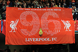 Liverpool fans remember those who died at Hillsbrough during the UEFA Champions League Quarter Final Second Leg match between Chelsea and Liverpool at Stamford Bridge on April 14, 2009 in London, England. between Chelsea and Liverpool at Stamford Bridge on April 14, 2009 in London, England.