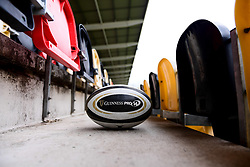 A general view of a match ball prior to kick off - Ryan Hiscott/JMP - 04/01/20 - SPORT - Rodney Parade - Newport, Wales - Saturday, Jan 04 2020 - Guinness PRO14 Dragons vs Ospreys