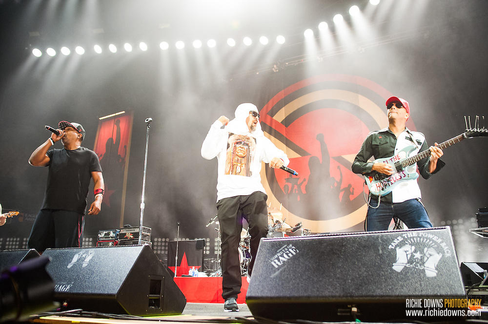 """Fairfax, VA-August 19, 2016-Prophets of Rage perform at EagleBank Arena on the opening night of their """"Make America Rage Again"""" tour. (Photo by Richie Downs)"""