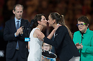 Feature Australian Open  Tennis Australia Praesidentin Jayne Hrdlicka gratuliert der Stuhlschiedsrichterin Marijana Veljovic (SRB),<br /> <br /> Tennis - Australian Open 2018 - Grand Slam / ATP / WTA -  Melbourne  Park - Melbourne - Victoria - Australia  - 27 January 2018.