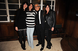 Left to right, SUSIE BICK, BELLA FREUD, VIDAL SASSOON and RHONDA SASSOON at a screening of a short film directed by Willem Jaspert and Stephen Langmanis to celebrate the launch of Bella Freud and Susie Bick's first design collaboration held at Town Hall, 8 Patriot Square, London E2 on 6th September 2010.