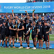 The New Zealand All Black 7's received their trophy after winning the World Cup Rugby 7's USA by defeating England 33-17 at AT&T Park, San Francisco, California, USA. Photo by Barry Markowitz, 7/22/18, 6pm