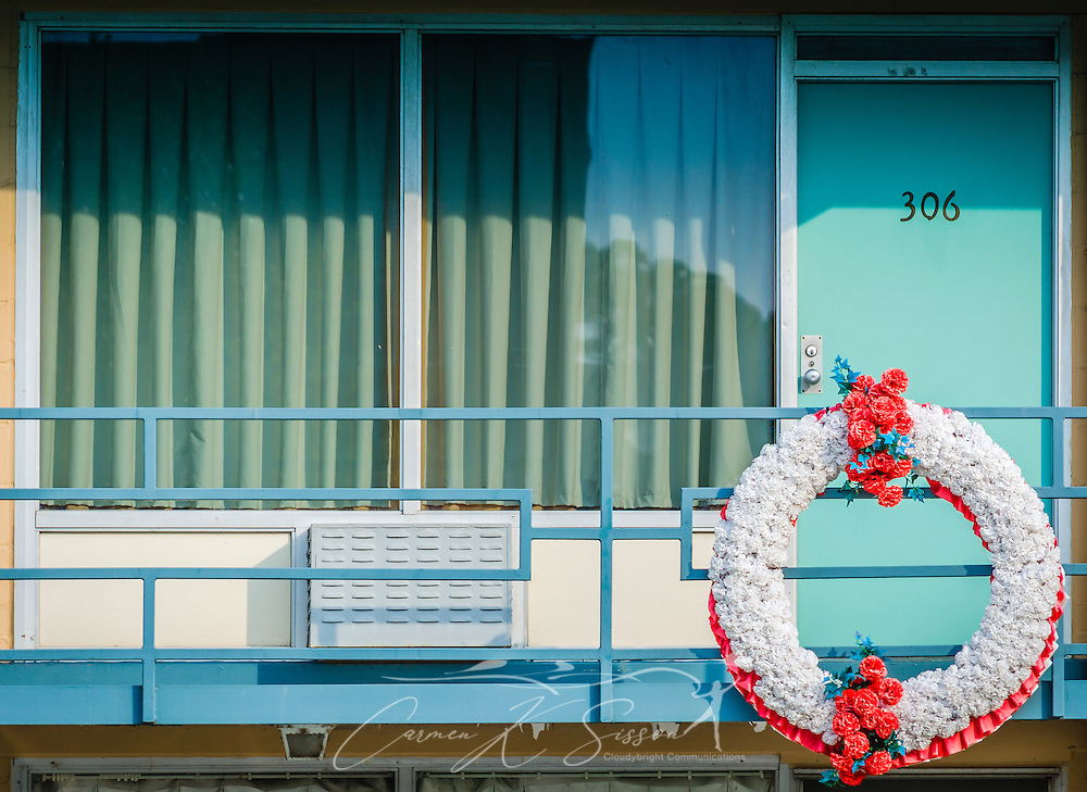 Room 306 at the Lorraine Motel is pictured, Sept. 7, 2015, in Memphis, Tennessee. Civil rights leader Dr. Martin Luther King, Jr., was shot and killed at the motel on April 4, 1968, while standing on the balcony. The motel is now part of the National Civil Rights Museum complex. during the segregation era, the Lorraine Motel was one of the few motels that permitted black clientele. The wreath is a replica of one placed previously and marks the spot where King was standing when he was killed. (Photo by Carmen K. Sisson/Cloudybright)