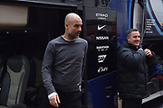 Manchester City manager Pep Guardiola gets off the team bus on arrival at the Viatlity Stadium before the Premier League match between Bournemouth and Manchester City at the Vitality Stadium, Bournemouth, England on 2 March 2019.
