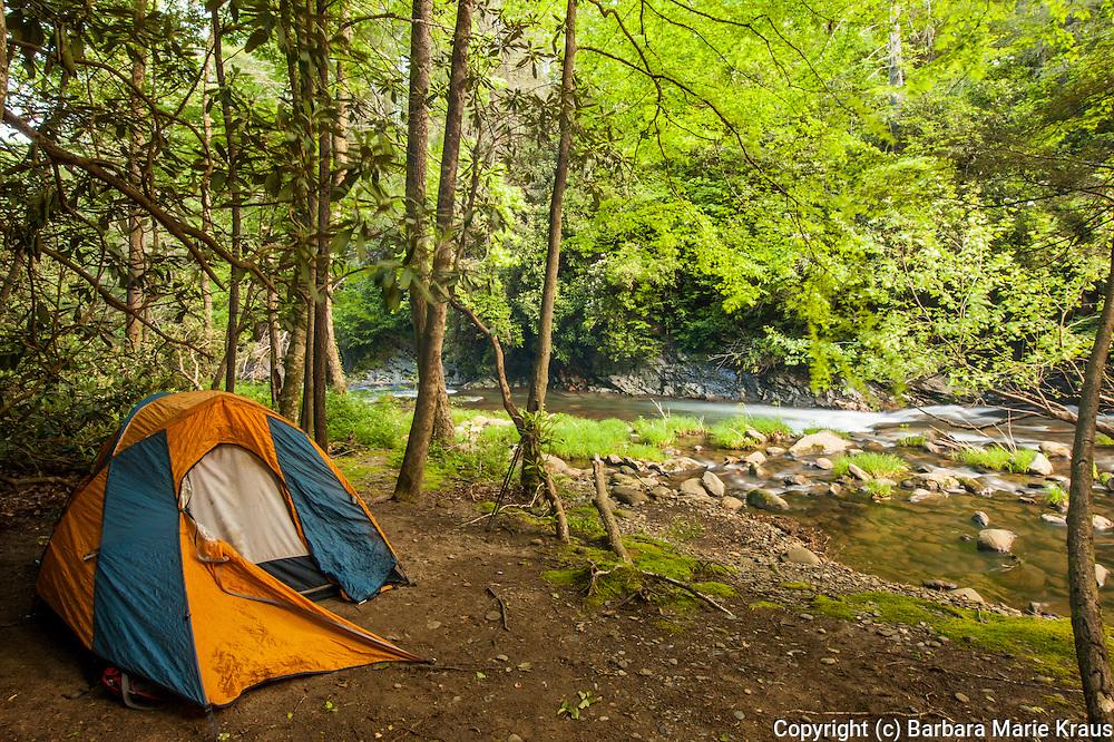A tent set up beside the Jacks River, Cohutta Wilderness, Chattahoochee National Forest