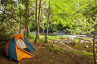 A tent set up beside the Jacks River, Cohutta Wilderness, Chattahoochee National Forest