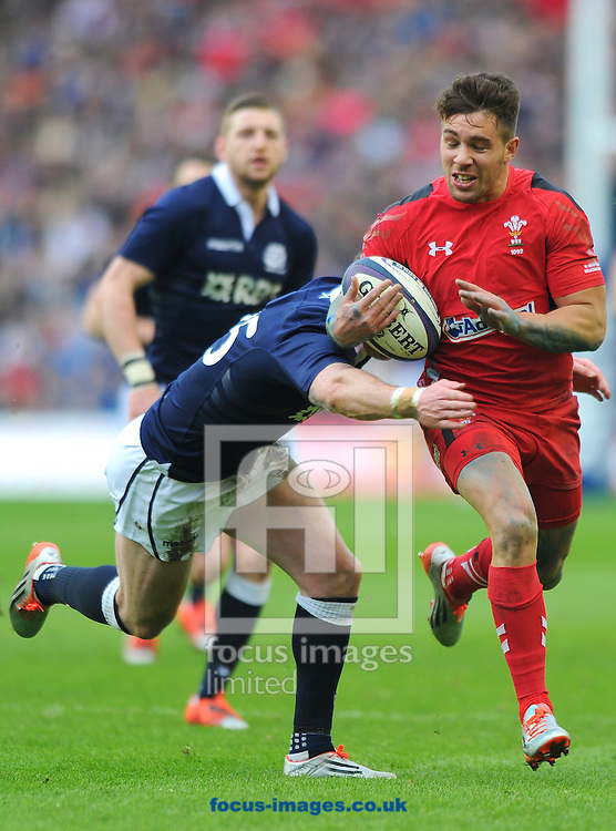 Rhys Webb of Wales (right) is tackled by Stuart Hogg of Scotland during the RBS 6 Nations match at Murrayfield Stadium, Edinburgh<br /> Picture by Greg Kwasnik/Focus Images Ltd +44 7902 021456<br /> 15/02/2015
