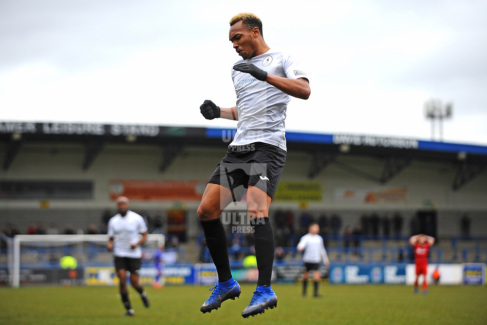 TELFORD COPYRIGHT MIKE SHERIDAN GOAL. Marcus Dinanga of Telford scores to make it 1-1  during the Vanarama Conference North fixture between AFC Telford United and Darlington at The New Bucks Head on Saturday, March 7, 2020.<br /> <br /> Picture credit: Mike Sheridan/Ultrapress<br /> <br /> MS201920-049