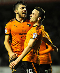 Diogo Jota of Wolverhampton Wanderers celebrates with Ruben Neves of Wolverhampton Wanderers after making it 3-0-Mandatory by-line: Nizaam Jones/JMP - 02/01/2018 - FOOTBALL - Molineux - Wolverhampton, England- Wolverhampton Wanderers v Brentford -Sky Bet Championship