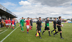 RHYL, WALES - Saturday, September 2, 2017: Teams come onto the pitch before the Under-19 international friendly match between Wales and Iceland at Belle Vue. (Pic by Gavin Trafford/Propaganda)