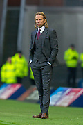 Heart of Midlothian caretaker manager Austin MacPhee watches his team during the Ladbrokes Scottish Premiership match between Rangers FC and Heart of Midlothian FC at Ibrox Park, Glasgow, Scotland on 1 December 2019.