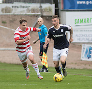 Dundee&rsquo;s Daryll Meggatt goes past Hamilton&rsquo;s Eamonn Brophy - Dundee v Hamilton Academical, Ladbrokes Scottish Premiership at Dens Park<br /> <br />  - &copy; David Young - www.davidyoungphoto.co.uk - email: davidyoungphoto@gmail.com