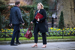 © Licensed to London News Pictures. 16/01/2018. London, UK. Secretary of State for Northern Ireland Karen Bradley arrives on Downing Street for the weekly Cabinet meeting. Photo credit: Rob Pinney/LNP
