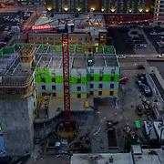 Hampton Inn Hotel under construction at 16th and Main, downtown Kansas City, Missouri.